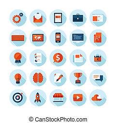 płaski, ikony, projektować, sieć