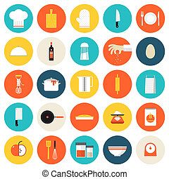 płaski, ikony, przybory do gotowania, narzędzia, kuchnia