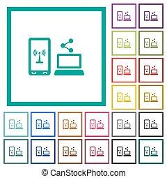 płaski, ikony, ruchomy, część, kwadrant, kolor, internet, układa