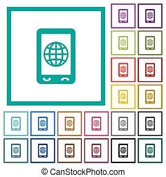 płaski, ikony, ruchomy, kwadrant, kolor, internet, układa