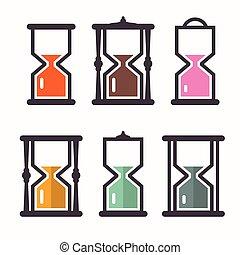 płaski, ikony, set., clock., piasek, wektor, projektować, retro
