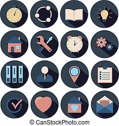 płaski, ikony, set., -, wektor, projektować