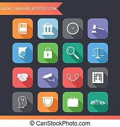 płaski, ikony, sprawiedliwość, prawny, symbolika, wektor, ilustracja, prawo