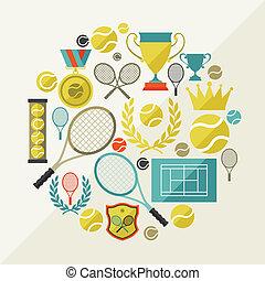 płaski, ikony, tenis, lekkoatletyka, projektować, tło, style.