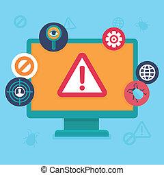 płaski, ikony, -, wirus, wektor, internetowe bezpieczeństwo