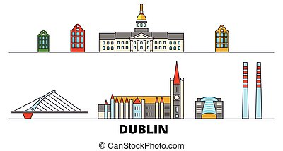 płaski, illustration., miasto, punkty orientacyjny, dublin, irland, sławny, wektor, cele, kreska, sylwetka na tle nieba, podróż, design.