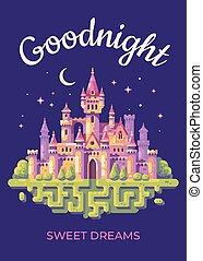 płaski, illustration., opowiadanie, goodnight, zamek, wróżka, karta