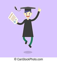 płaski, ilustracja, absolwent, student, rysunek, szczęśliwy