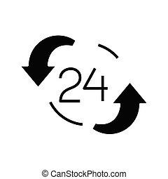 płaski, ilustracja, praca, ikona, czarnoskóry, wektor, symbol, glyph, poznaczcie., pojęcie, okrągły, zegar
