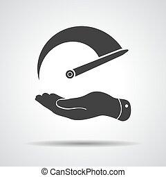 płaski, ilustracja, ręka, tachometr, wektor, icon.