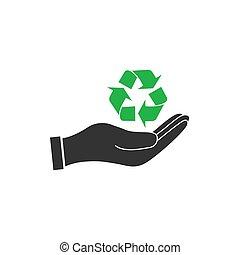 płaski, ilustracja, recycling, do góry, ręka, wektor, dzierżawa, icon., design.