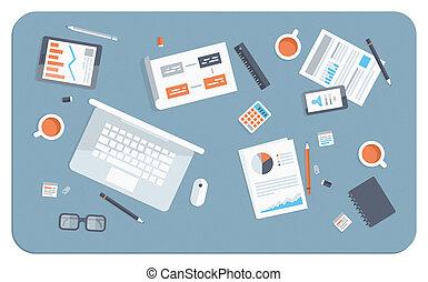 płaski, ilustracja, spotkanie, handlowy