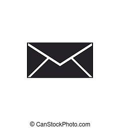 płaski, isolated., koperta, symbol., ilustracja, wektor, litera, wiadomość, ikona, email, design.