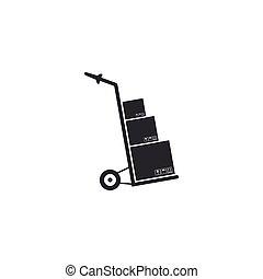 płaski, isolated., symbol., ilustracja, ręka, kabiny, wektor, wózek, laleczka, ikona, design.