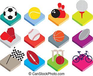 płaski, isometric, balowy sport, komplet, tło, biały, ikona