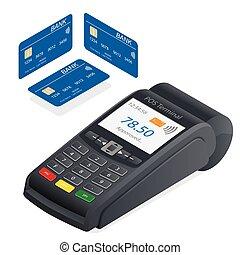 płaski, isometric, banking., technologia, karta, kredyt, komunikacja, debet, pos, ilustracja, terminal, tło., wektor, online, pole, biały, karta, 3d