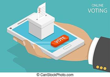 płaski, isometric, concept., wektor, online, głosowanie