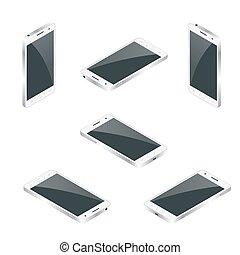 płaski, isometric, illustration., isolated., telefon, wektor, ruchomy, mądry, 3d