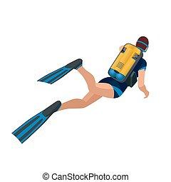 płaski, isometric, illustration., pod, wstecz, scuba, wektor, człowiek, water., nurkowanie, prospekt., 3d, nurek, pływacki