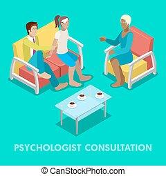 płaski, isometric, psychotherapy., para, ilustracja, ...