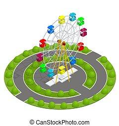 płaski, isometric, rodzina, wheel., concept., park, urlop, ilustracja, ferris, wektor, święto, rozrywka