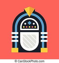 płaski, jukebox., ilustracja, wektor, projektować, retro, icon., szafa grająca