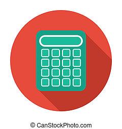 płaski, kalkulator, długi, jednorazowy, shadow., ikona