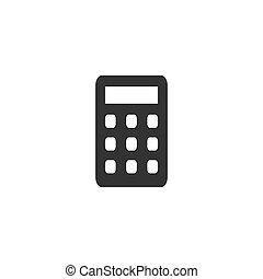 płaski, kalkulator, ikona