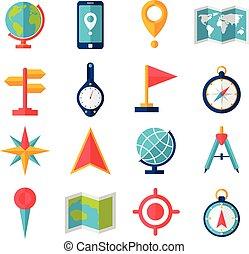 płaski, kartografia, komplet, ikona