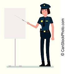 płaski, kaukaski, kobieta, policja, odizolowany, ilustracja, jednolity, tło., wektor, projektować, dzierżawa, pointer., biały, rysunek