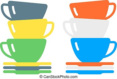 płaski, kawa, kawiarnia, filiżanka, herbata, napój, rano, ...