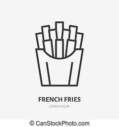 płaski, kawiarnia, kartofel, menu, restauracja, smaży, jadło, mocny, znak, francuski, wektor, ilustracja, kreska, smażył, logo., icon., cienki