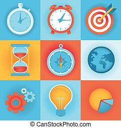 płaski, kierownictwo, ikony, -, wektor, czas