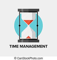 płaski, kierownictwo, ilustracja, czas