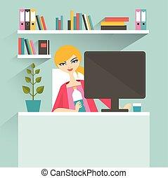 płaski, kobieta, biuro, secretary., workplace., wektor,...