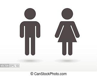 płaski, kobieta, -, ikona, człowiek
