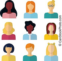 płaski, kobieta, ikony, set., odizolowany, zbiór, wektor, portret