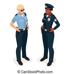 płaski, kobieta, illustration., realistick, odizolowany, wektor, oficer, isometriv, 3d, policjantka, uniform., white.