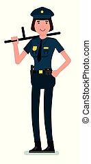 płaski, kobieta, policja, jej, brązowy, ręka., odizolowany, ilustracja, jednolity, włosy, tło., wektor, projektować, oficer, biały, batuta, wizerunek, rysunek