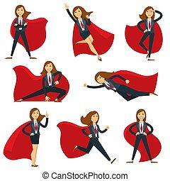 płaski, kobieta, superhero, biurowe ikony, litera, dyrektor,...