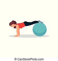 płaski, kobieta, zdrowy, atleta, stosowność, młody, lifestyle., wektor, projektować, ruch, działalność, używając, deska, ball., fizyczny