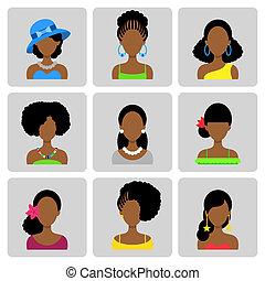 płaski, kobiety, komplet, afrykanin, ikony