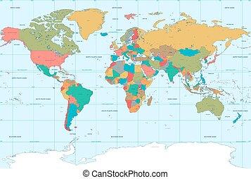 płaski, kolor, światowa mapa