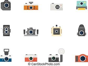 płaski, kolor, ikony, -, cameras