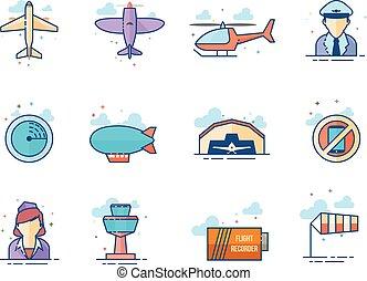 płaski, kolor, ikony, -, lotnictwo