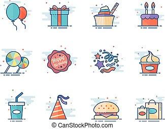 płaski, kolor, ikony, -, urodziny