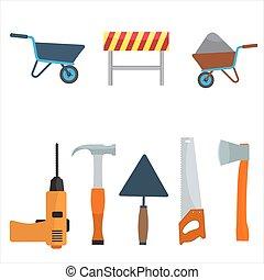 płaski, kolor, set., wektor, projektować, zbudowanie, narzędzia, ikona