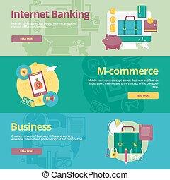 płaski, komplet, bankowość, sieć, ruchomy, business., materiały, projektować, pojęcia, druk, chorągwie, m-handel