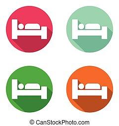 płaski, komplet, barwny, ikony, łóżko, wektor