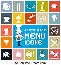 płaski, komplet, barwny, ikony, menu, restauracja, wektor, projektować